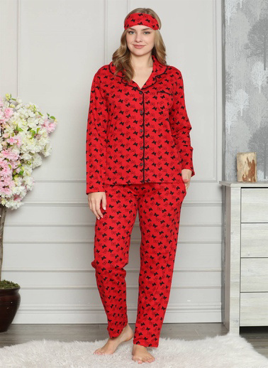 Akbeniz Kadın %100 Pamuk Önden Düğmeli Uzun Kol Pijama Takım 2721 Kırmızı